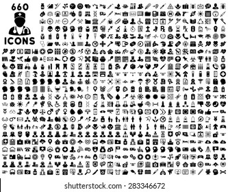 690 medical service, health care, pharmacy business, drugstore, science icons. Icon set style: flat, black vector symbols, rounded angles, white background.