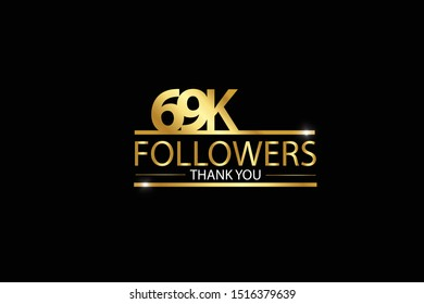 69k, 69.000 Followers celebration logotype. anniversary logo with golden and Spark light white color isolated on black background for social media - Vector
