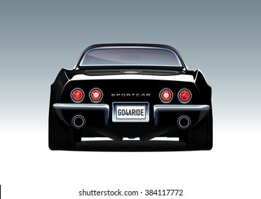 69s black \ muscle car. Vector EPS10 isolated, separated layers.
