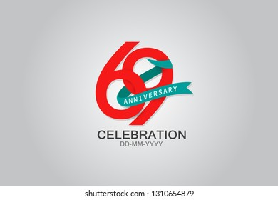 69th years anniversary blue ribbon celebration logotype. anniversary logo with Red text and Spark light white color isolated on black background, design for celebration, invitation - vector
