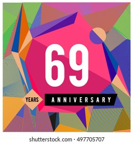 69th years greeting card anniversary with colorful number and frame. logo and icon with Memphis style cover and design template