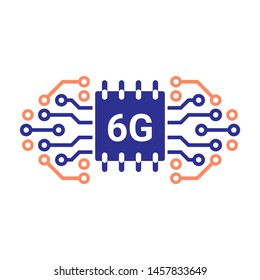 6G network concept. 6G technology background. Mobile telecommunications technology with microelectronics background.