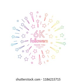 6K followers greeting emblem. Social media symbol with firwork stars decoration in linw art style. Vector label for blog or site design.