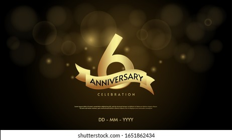6th anniversary background with illustrations of numbers in a circle with writing on the ribbon.