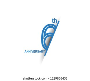 6th anniversary blue cut style isolated on white background