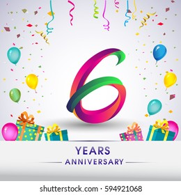 6th Anniversary Celebration Design, with gift box, balloons and confetti, Colorful Vector template elements for your, six years birthday celebration party.