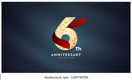 6th Anniversary celebration - Golden numbers with red fabric background