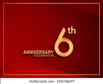 6th anniversary celebration logotype golden color isolated on red color