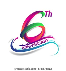 6th anniversary celebration logotype green and red colored. six years birthday logo on white background.
