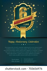 6th Anniversary celebration template design , 6 year anniversary design of elements, dark green or Turquoise blue background - vector illustration