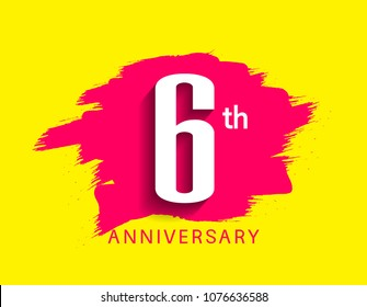 6th anniversary flat design pink brush on yellow background for celebration event