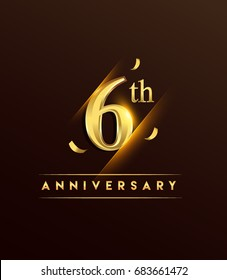 6th anniversary glowing logotype with confetti golden colored isolated on dark background, vector design for greeting card and invitation card.