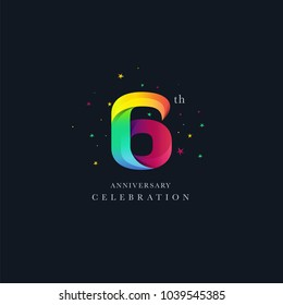 6th Anniversary Logo Design, Number 6 Icon Vector Template.