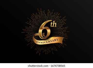 6th anniversary logotype with fireworks and golden ribbon, isolated on elegant background. vector anniversary for celebration, invitation card, and greeting card.