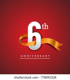 6th anniversary logotype with golden ribbon isolated on red elegance background, vector design for birthday celebration, greeting card and invitation card.