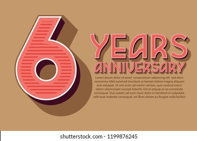 6th Anniversary numbers. background for anniversary