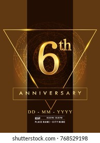 6th anniversary poster design on golden and elegant background, vector design for anniversary celebration, greeting card and invitation card.
