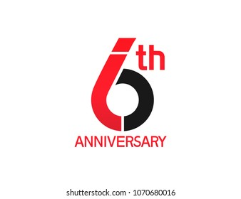 6th anniversary red and black design simple isolated on white background for celebration