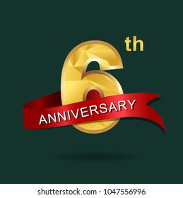 6th anniversary years celebration logotype. Logo gold numbers and ribbon green background.