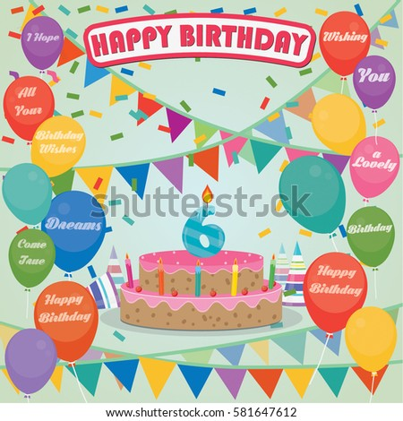 6th Birthday Cake Decoration Background Flat Stock Vector Royalty