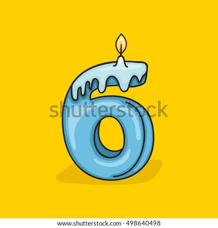 6th Birthday Candle Number Vector Design Template Elements For Your Celebration