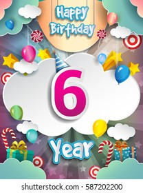 6th Birthday Celebration greeting card Design, with clouds and balloons. Vector elements for the celebration party of six years anniversary