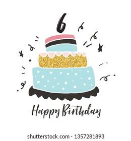 6th birthday hand drawn cake birthday card