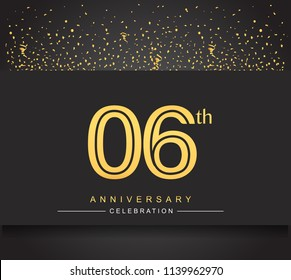6th golden anniversary celebration logotype with confetti golden color isolated on black background, vector design for greeting card and invitation card