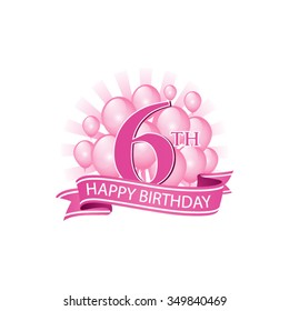 6th Pink Happy Birthday Logo With Balloons And Burst Of Light