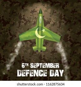 6th September. Happy Defence Day. Different type of multi green air force airplane crashing with white smoke on Pakistan Army suit texture editable vector design with grunge typography in white color.