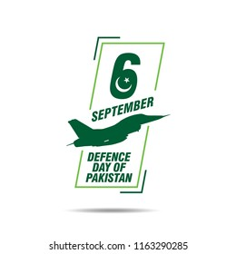 6th September. Happy Defence Day. English Typography with Pakistan Air Force aircraft in silhouette on white background