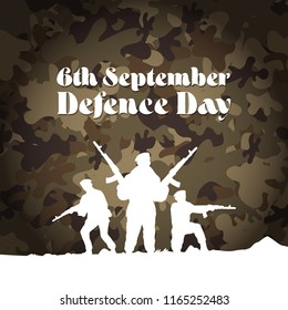 6th September. Happy Defence Day. Rifle flag jet and Helmet of veteran and Pakistani soldier with english calligraphy on army background