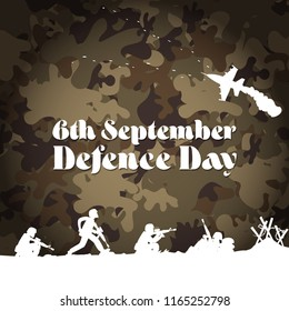 6th September. Happy Defence Day. Rifle flag jet and Helmet of veteran and Pakistani soldier with english calligraphy on army background and fighter jet planes