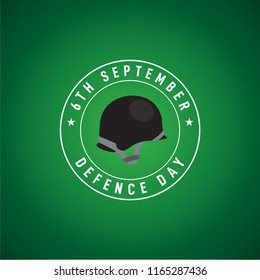 6th September Happy Defence Day Pakistani soldier Helmet in circle with english calligraphy on green background