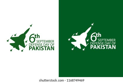 6th September. Happy Defence Day.  air force airplane with white text  typography in white and green background