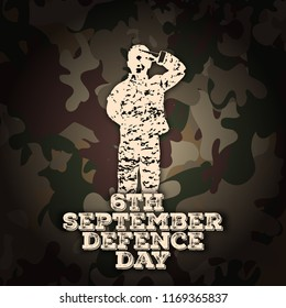 6th September. Happy Defence Day. Pakistani army kid saluting silhouettes with grunge typography in white color on Pakistan army suit color texture editable vector design.