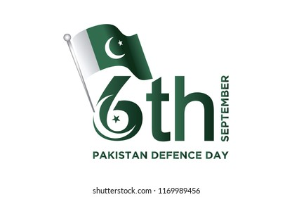 6th Septermber. Happy Defence Day. flag of Pakistan. Vector. 5K
