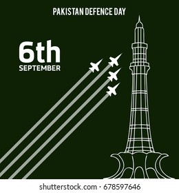 6th Septermber. Happy Defence Day. Airplanes and Minar-a-Pakistan on dark green background