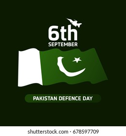6th Septermber. Happy Defence Day. Airplanes and Pakistan flag on dark green background