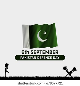 6th Septermber. Happy Defence Day. Rifle and Helmet of vetern and Pakistan flag on white background