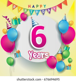 6th Years Anniversary Celebration Birthday Card Or Greeting Design With Gift Box And Balloons