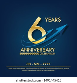 6th years anniversary celebration emblem. anniversary elegance golden logo with blue arrow ribbons on blue background. vector illustration template design for celebration greeting and invitation card