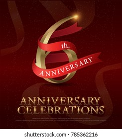 6th years anniversary celebration golden logo with red ribbon on red background. vector illustrator