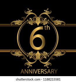 6th years anniversary celebration. 6th anniversary logo with gold color, foil, sparkle