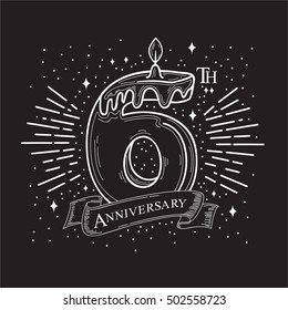 6th Years Anniversary Design. .Vector design template elements for your celebration.