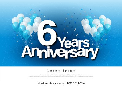 6th years anniversary greeting card lettering template with balloon and confetti. Design for invitation card, banner, web, header and flyer. vector illustrator