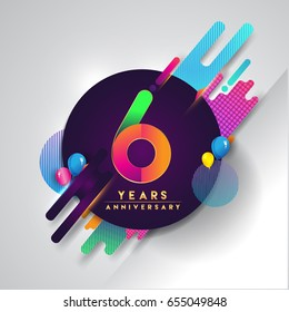 6th years Anniversary logo with colorful abstract background, vector design template elements for invitation card and poster six years birthday celebration
