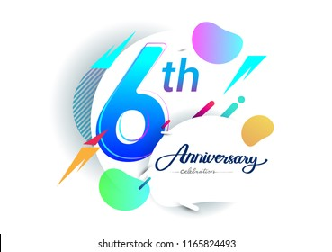 6th years anniversary logo, vector design birthday celebration with colorful geometric background, isolated on white background.