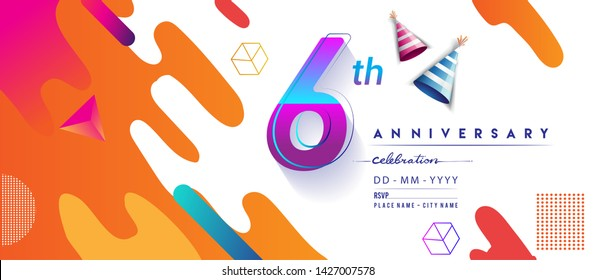 6th years anniversary logo, vector design birthday celebration with colorful geometric background and circles shape.