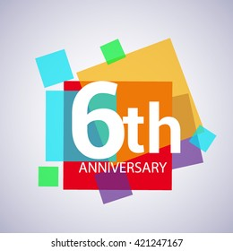 6th years anniversary logo, vector design birthday celebration with colorful geometric isolated on white background.
